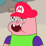 Clarence Wearing a Mario Hat