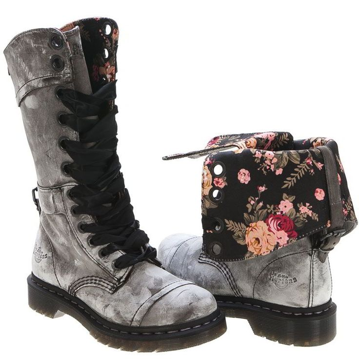 Floral Fold Down Doc Martens