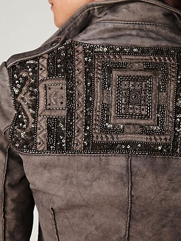 Sequined Leather Jacket