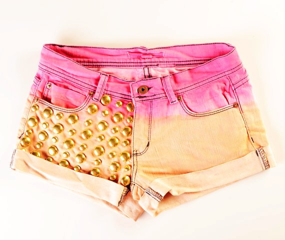 Ombre Studded Shorts