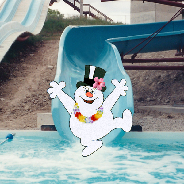 Frosty the Snowman on a Waterslide - Christmas in July