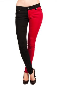 Red and Black Two Tone Pants