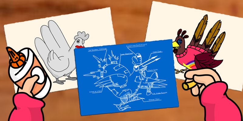 Hand Turkeys Designed by Cartoon Characters