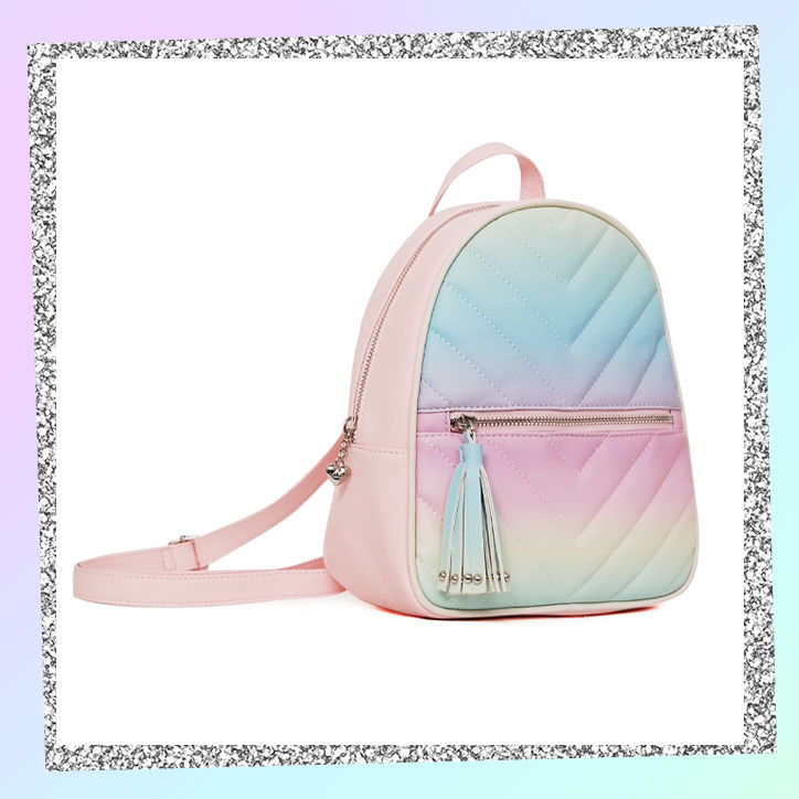 A minibackpack with a pastel ombre design