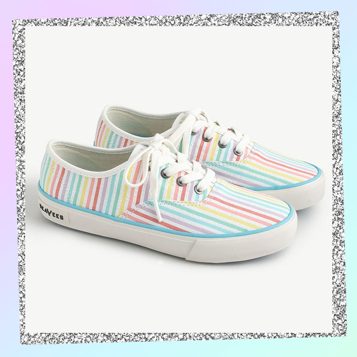 Rainbow striped seersucker sneakers