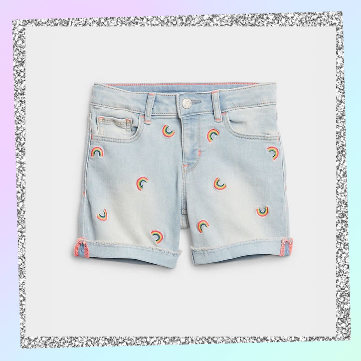 A pair of shorts with allover rainbow patches