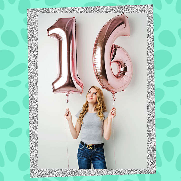 "Actress Madison Brydges holding up gold balloons that say ""16"""