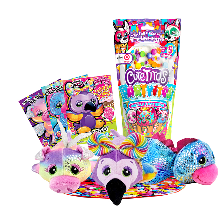 Cutetitos Partyitos plush collectible toys sitting in front of their packaging