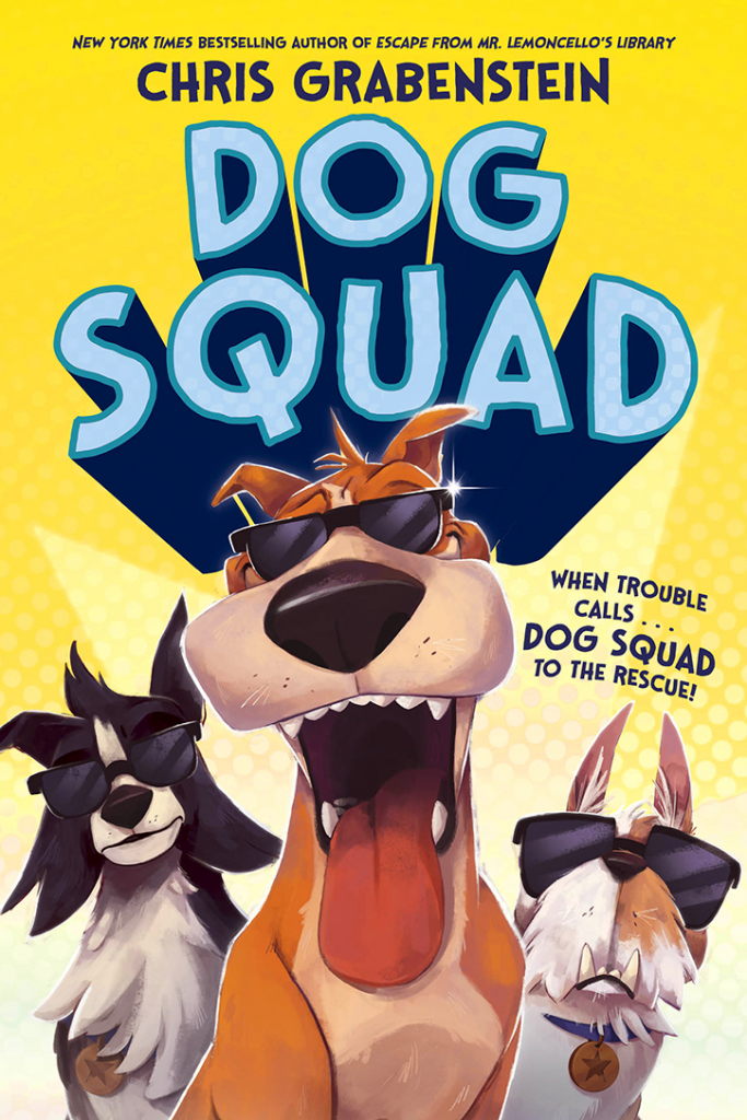 Dog Squad book cover featuring three illustrated dogs wearing sunglasses