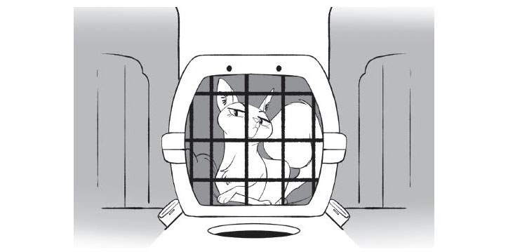 Illustration of a white cat in a cat carrier from Dog Squad