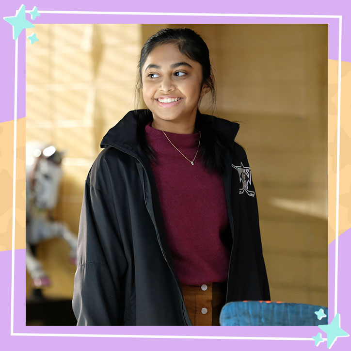 Actress Sway Bhatia in character as Sofi Hudson-Batra from Mighty Ducks: Game Changers