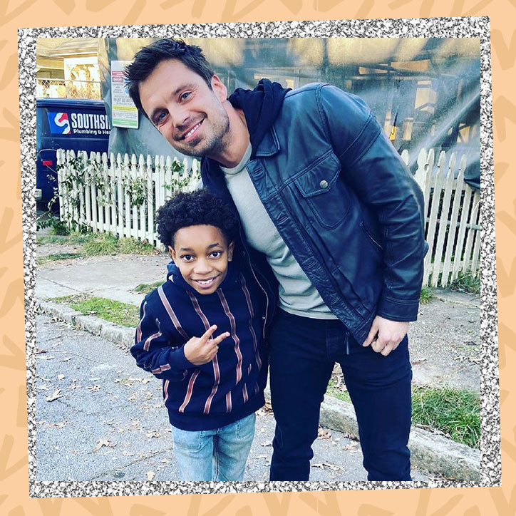 Actor Jecobi Swain posing with Sebastian Stan on the set of Falcon and the Winter Solider