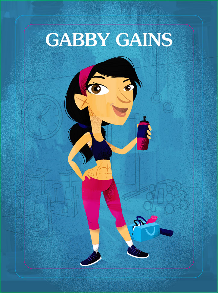 Character Art of Gabby Gains from the Ghosted board game