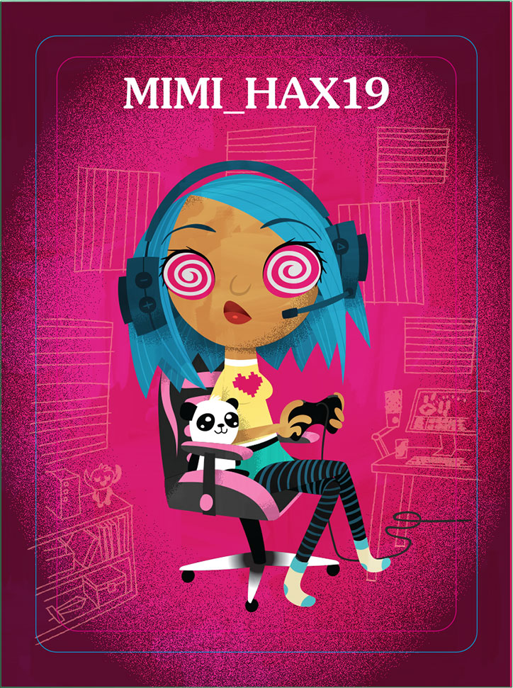 Character Art of Mimi_Hax19 from the Ghosted board game