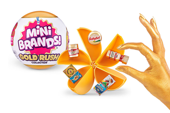 5 Surprise Mini Brands Gold Rush ball and golden grocery items
