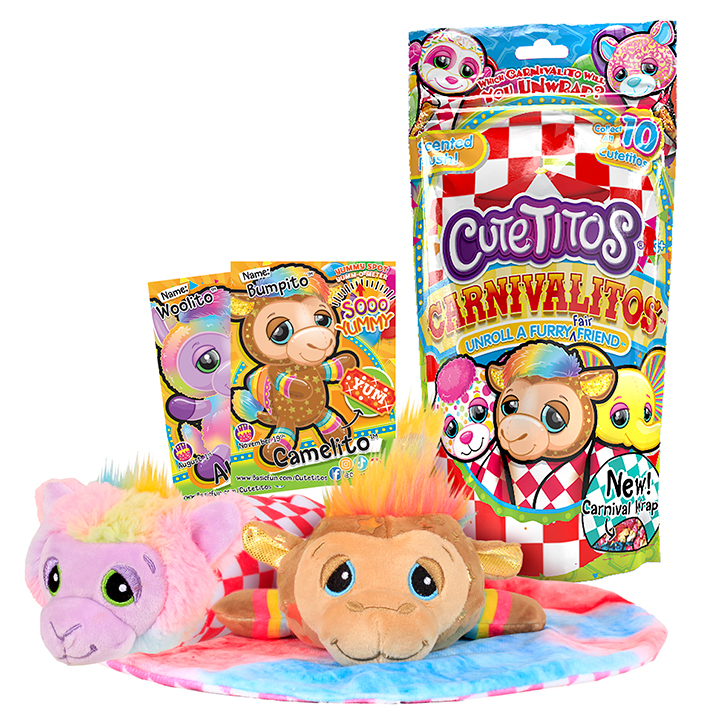 A package of Cutetitos Carnivalitos with two of the plush laying on a carnival wrap, a Camelito and an Alpacito
