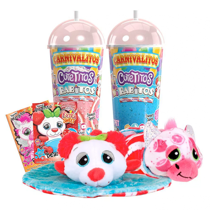 Cutetitos Carnivalitos Babitos next to their slushie cup packaging, with two of the plush laying on a carnival wrap, a Bearito and a Pegusito