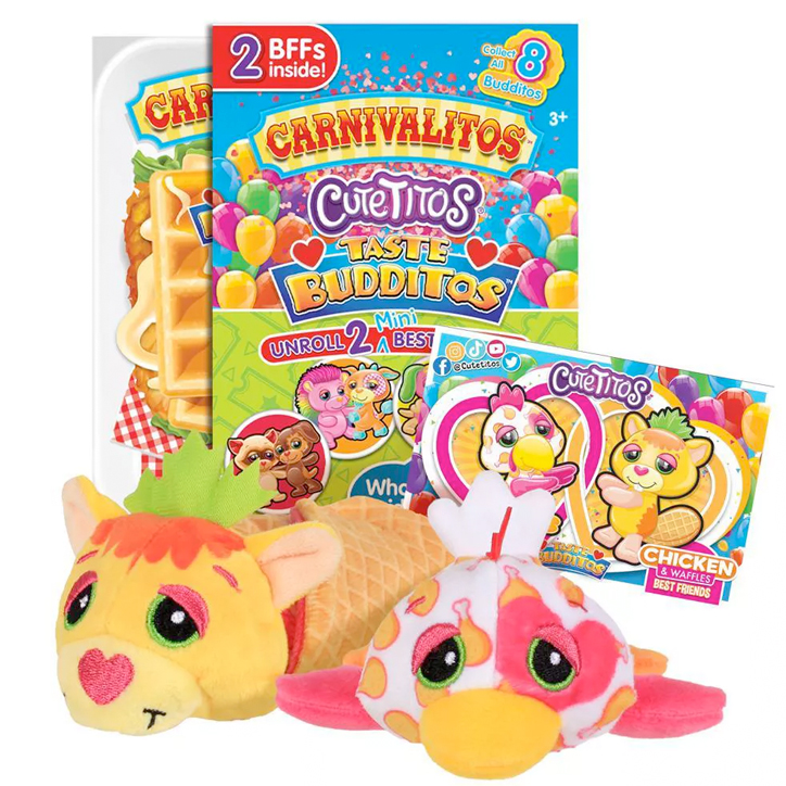 A package of Cutetitos Carnivalitos Taste Budditos next to their slushie cup packaging, with two of the plush inspired by chicken and waffles