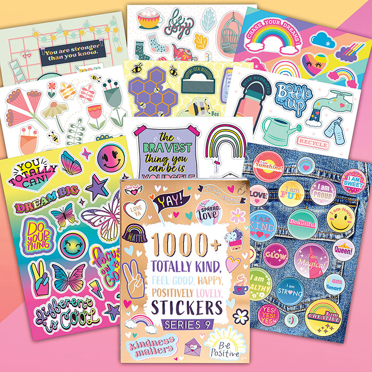Flat lay over a pink and orange backdrop of the Fashion Angels Positivity Sticker Set and example sticker pages including peace signs, rainbows, and inspirational messages