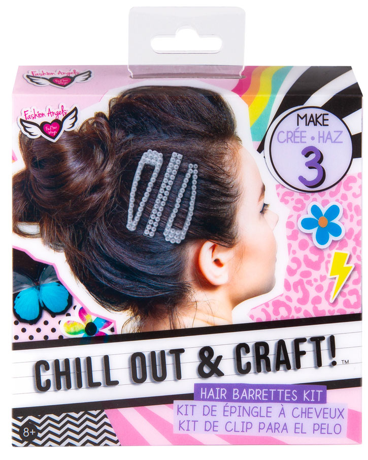 Product image of the Chill Out & Craft Hair Barrettes Kit, showing off the DIY clips in a teen girl's hair