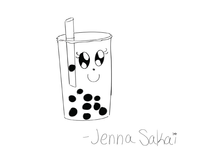 A doodle of a bubble tea with a kawaii inspired face