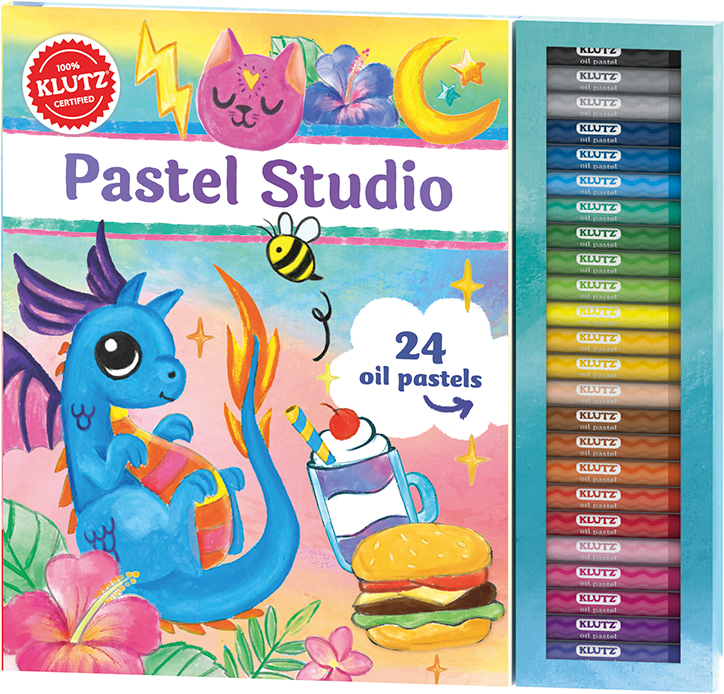 Product packaging for Klutz Pastel Studio Kit featuring 24 colorful pastels