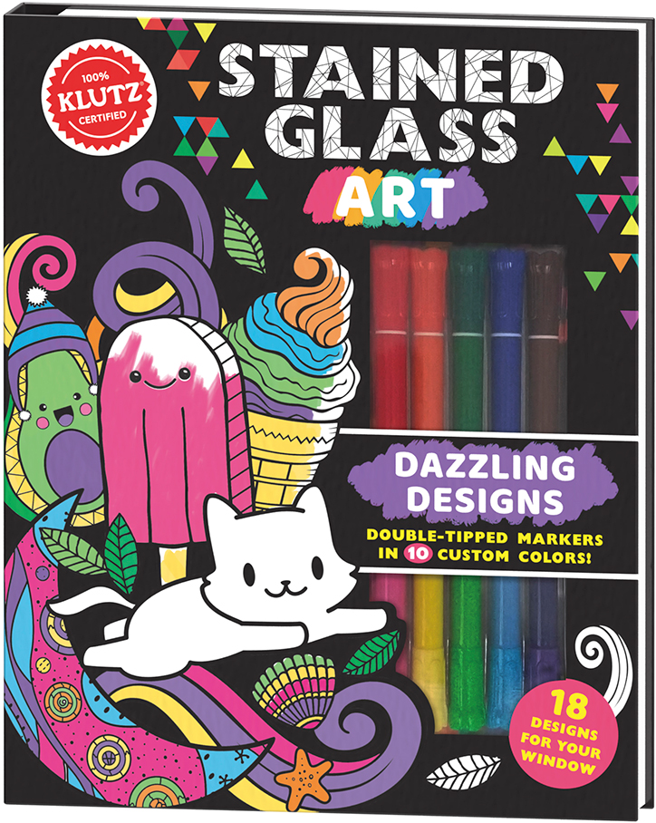 Product packaging for Klutz Stained Glass Art kit showing off included 18 double tip markers and example designs