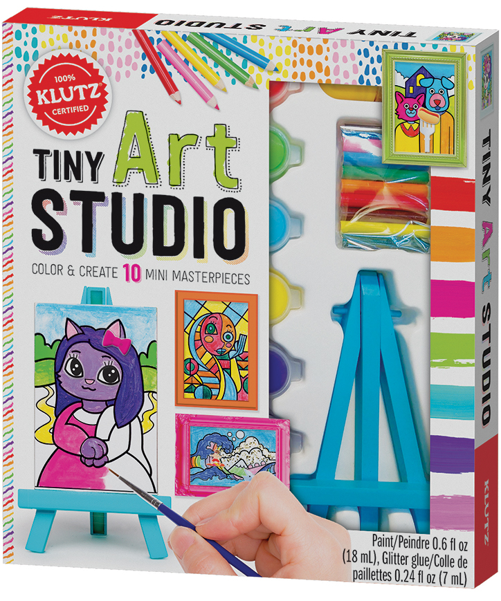Product Packaging for Klutz Tiny Art Studio Kit showing off tiny easel, paints, and example paintings
