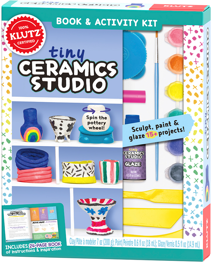 Product packaging for Klutz Tiny Ceramics Studio Kit showing off tiny pottery wheel that really spins and included clay and tools