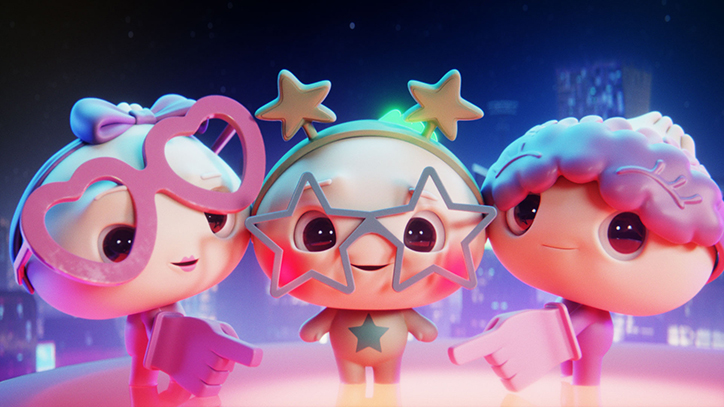 Screenshot of Dee, Dip, and Doe from My Squishy Little Dumplings music video for Can You Resist the Squish?