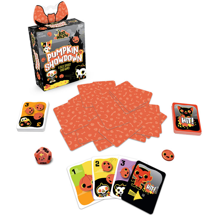 Product shot of Boo Hollow: Pumpkin Showdown card game featuring the box, some of adorable spooky the art from the cards, a die, and a thrower token