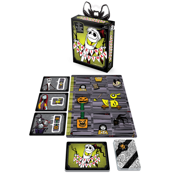 Product shot of The Nightmare Before Christmas: Making Christmas card game including the box art, stack of toy parts cards, stack of goal cards, and 4 workbench tiles