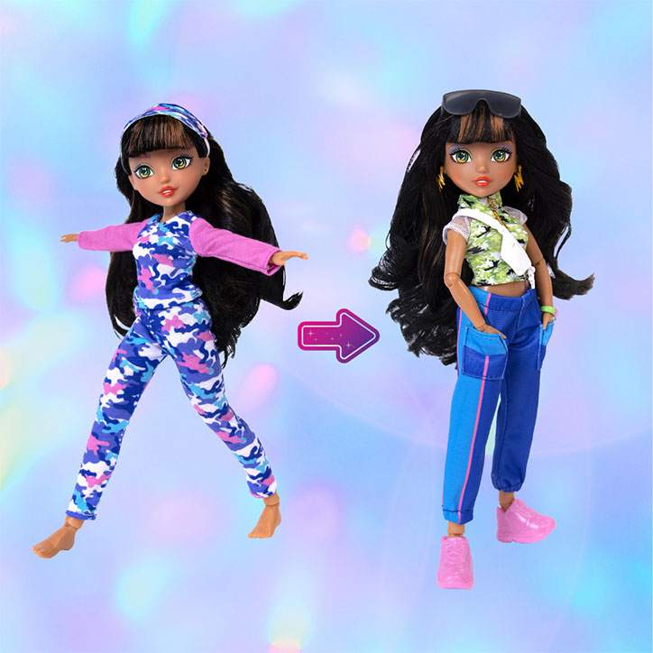 A before and after look at GLO-Up Girls Doll Alex styled in her pre-makeover pajama look and her post-glowup fashions