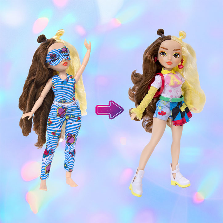 A before and after look at GLO-Up Girls Doll Erin styled in her pre-makeover pajama look and her post-glowup fashions