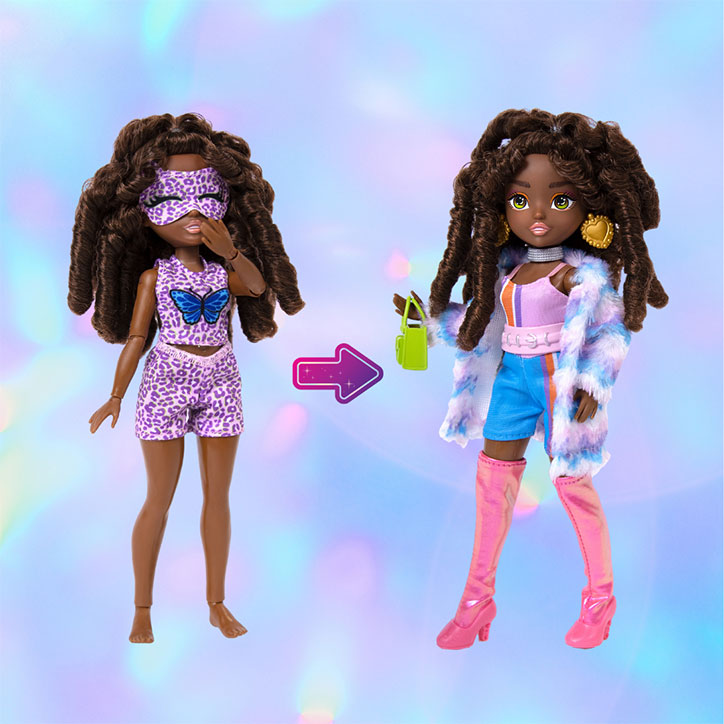 A before and after look at GLO-Up Girls Doll Kenzie styled in her pre-makeover pajama look and her post-glowup fashions