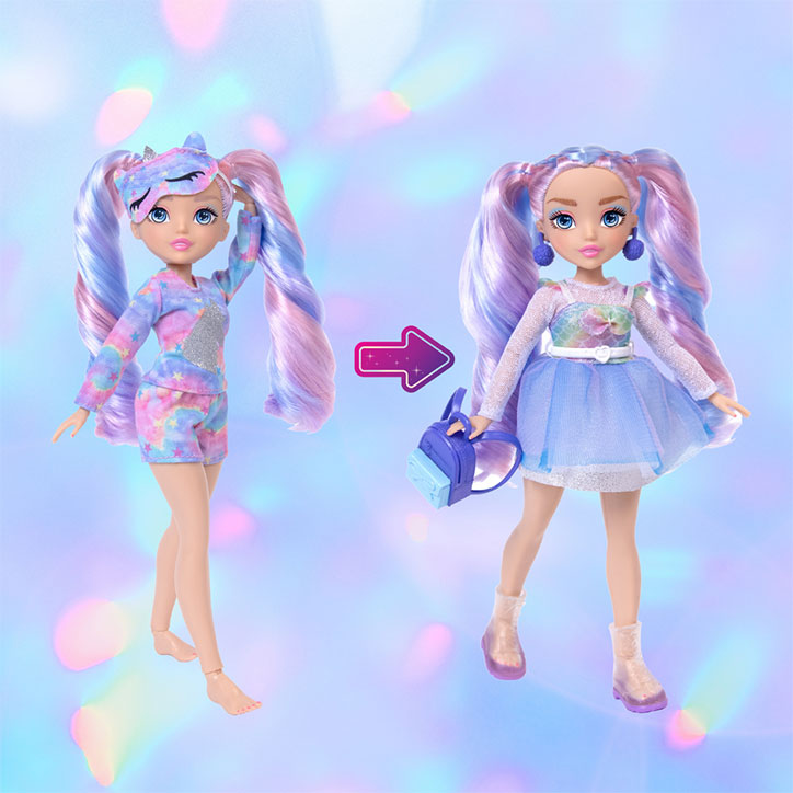 A before and after look at GLO-Up Girls Doll Sadie styled in her pre-makeover pajama look and her post-glowup fashions