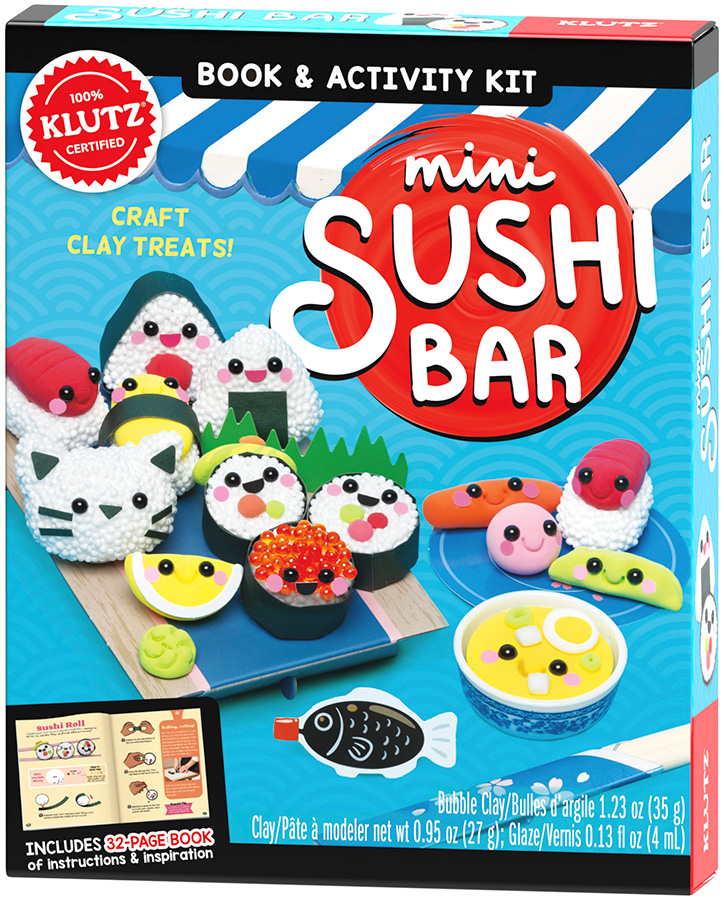 Product photo of the Klutz Mini Sushi Bar kit featuring clay sushi treats and papercraft accessories