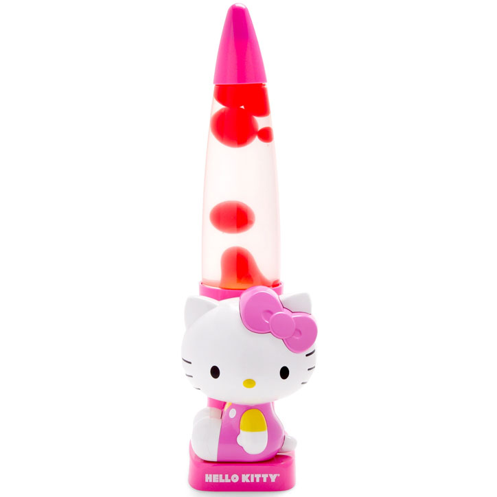 Product image for a Hello Kitty lava lamp with Hello Kitty in a pink and yellow outfit at the base and a rocket shaped lamp with red lava
