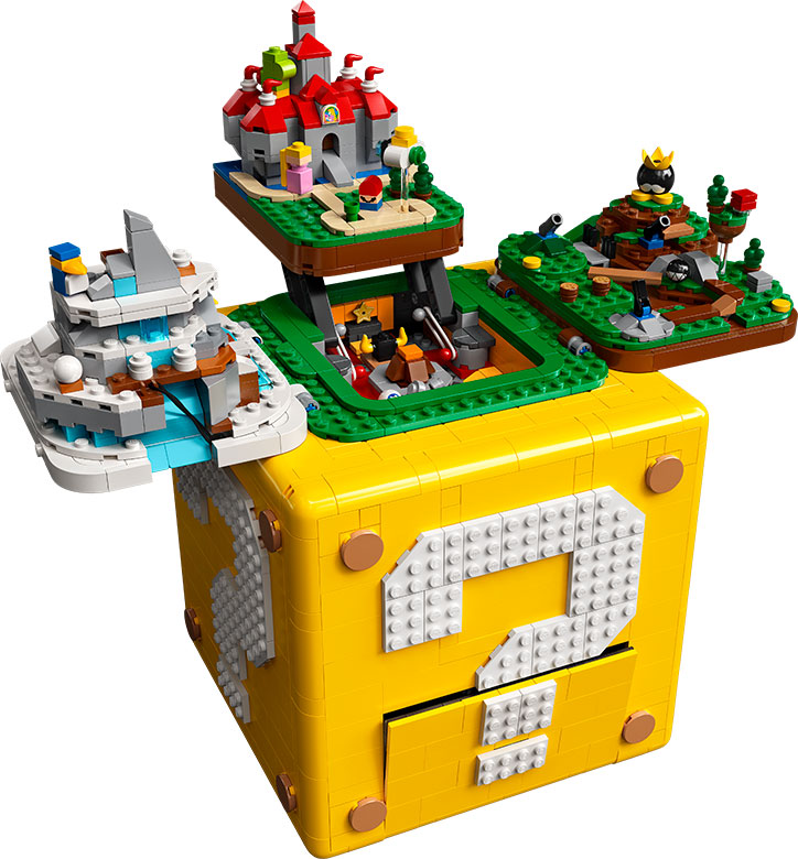 Product image for the LEGO Super Mario ? Block Set, opened up to show off the three Mario 64 inspired level builds