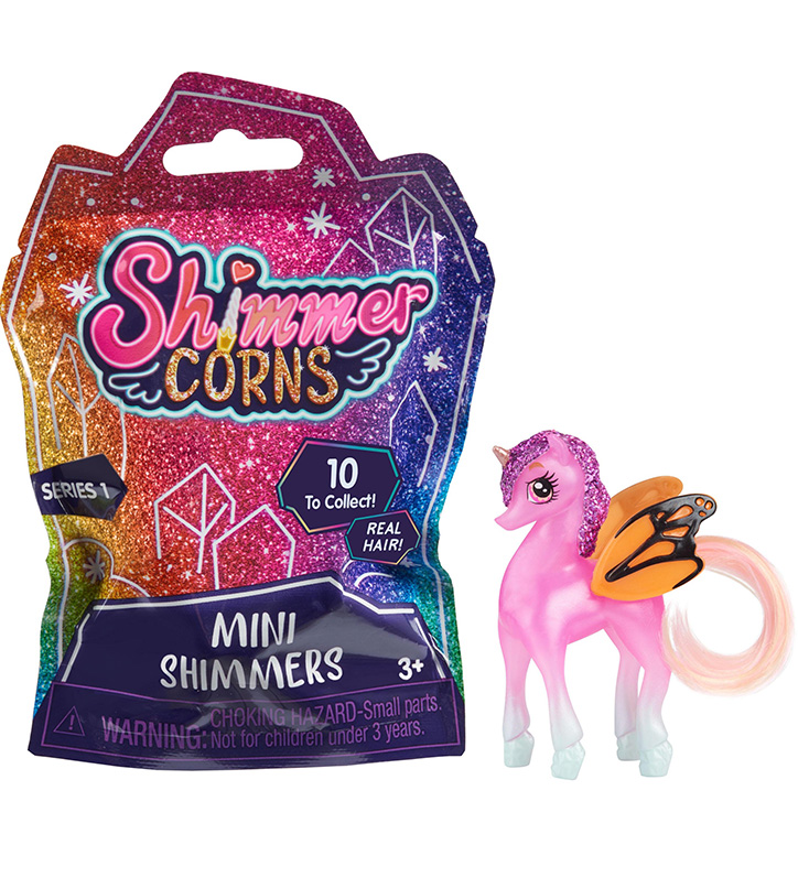 Product photo for Shimmercorns Mini Shimmers featuring the sparkly ombre packaging and one mini unicorn