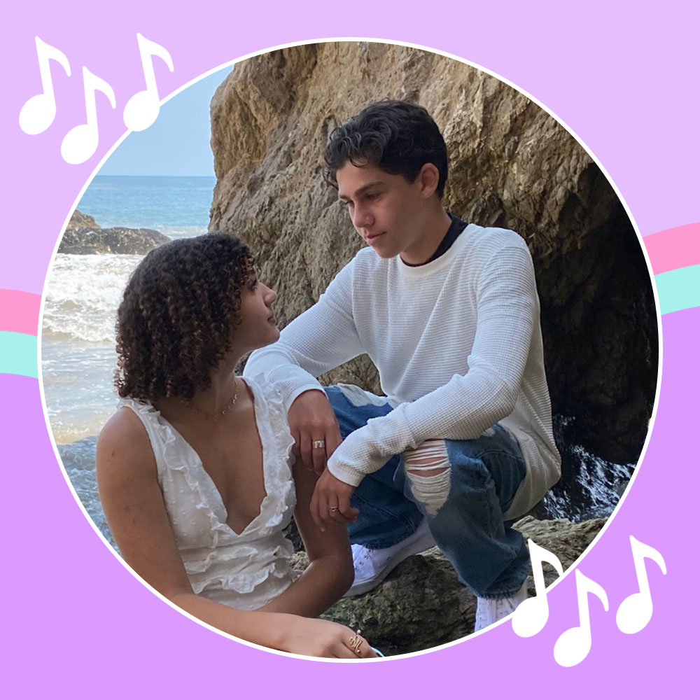 Jackson Dollinger and Scarlet Spencer on the beach while shooting the I'm Yours 2 Music Video