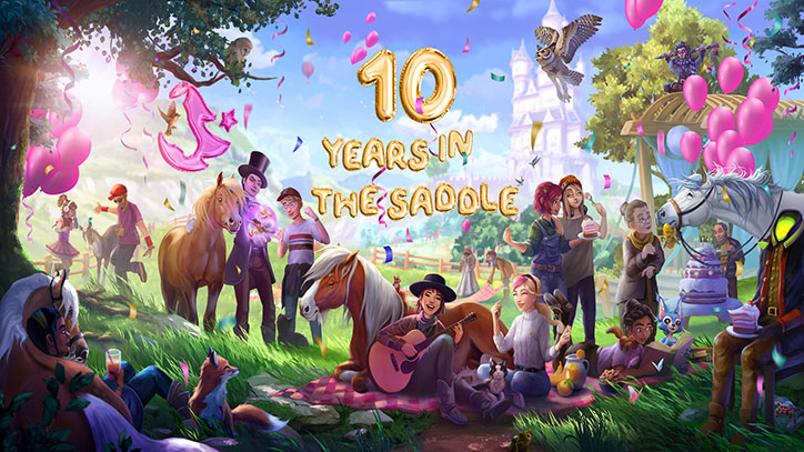 Star Stable 10 Year Anniversary Illustration featuring many Star Stable characters and horses celebrating at a picnic in Jorvik